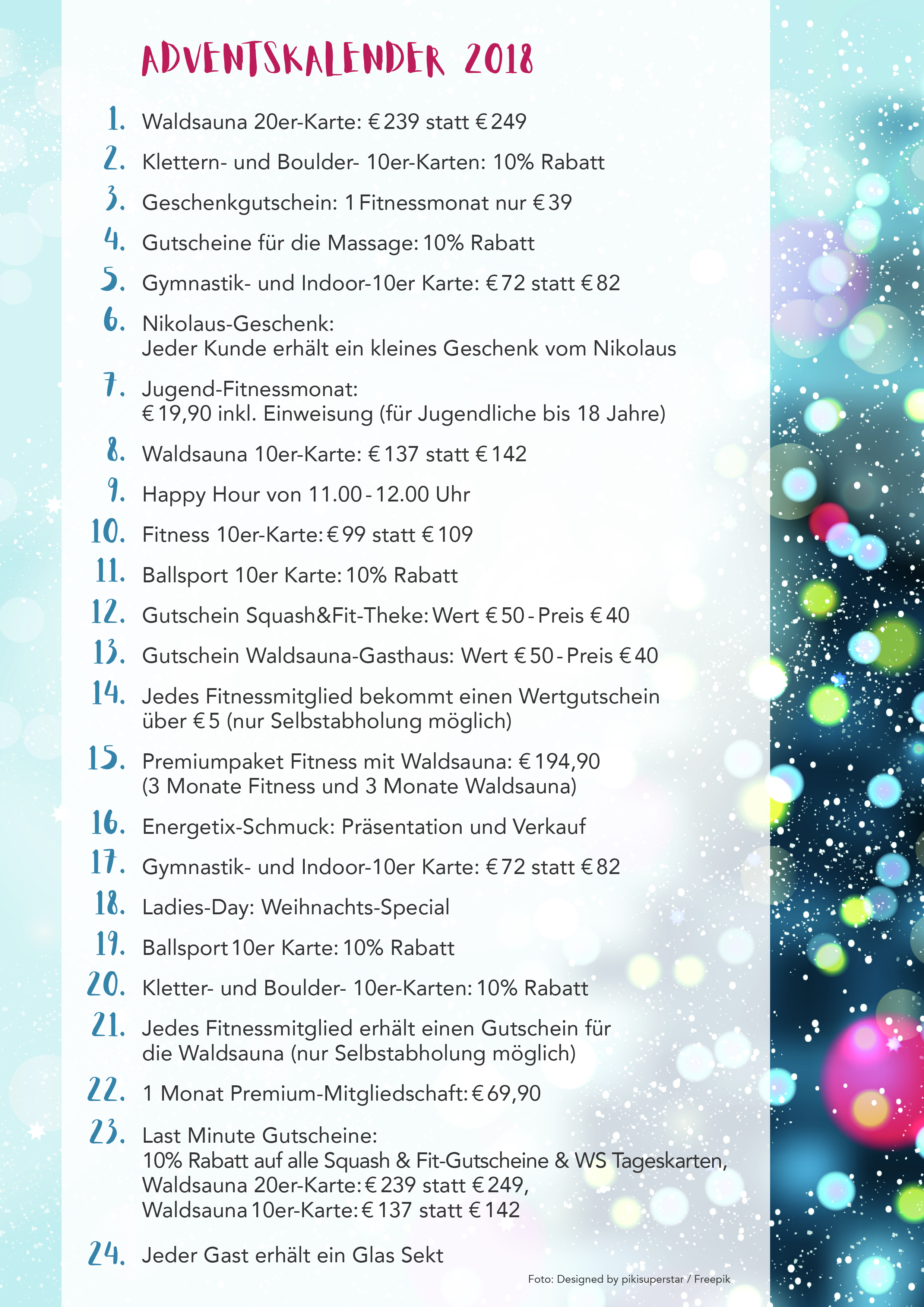 Adventskalender 2018 Squash und Fit
